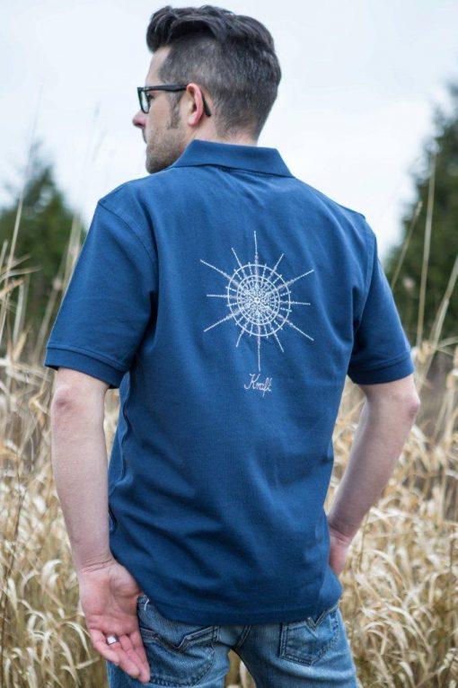 Poloshirt für Männer Blau mit Kristall Kraft gestickt in Grautönen