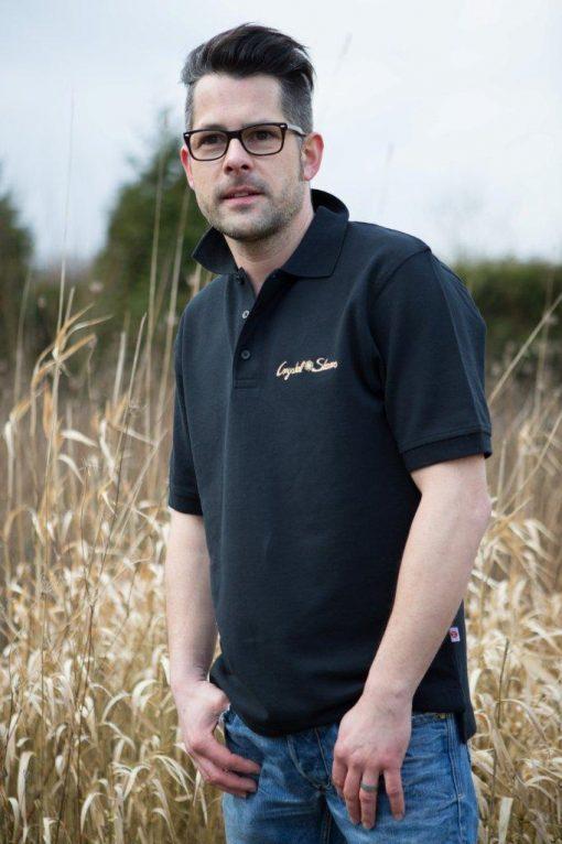 Polo Shirt für Männer Schwarz mit Kristall Reichtum gestickt in Gold