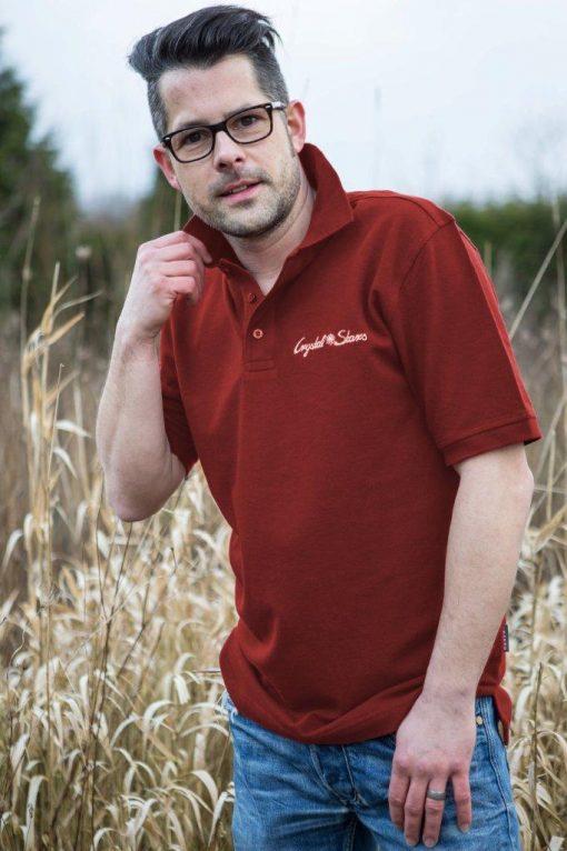 Poloshirt für Männer Weinrot mit Kristall Reichtum gestickt in Gold