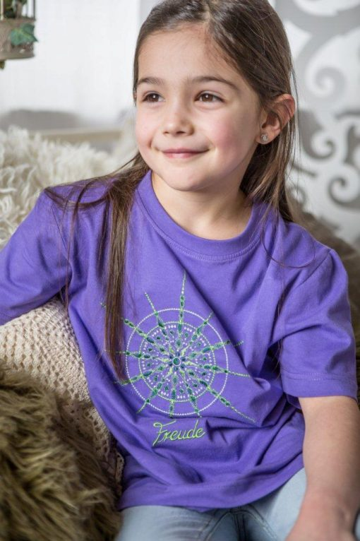 Kinder T-Shirt lila mit Kristall Freude gestickt