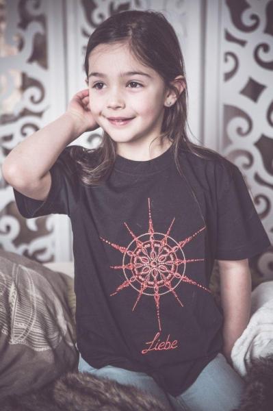 T-Shirt mit Kristall Liebe gestickt für Kinder in schwarz