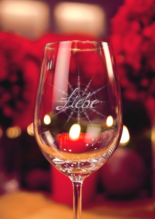 Weinglas Liebe in Nahaufnahme